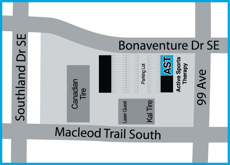 image of a map showing the location of active sports therapy calgary